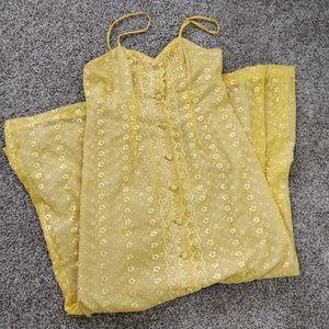 Vintage Yellow Maxi Sundress